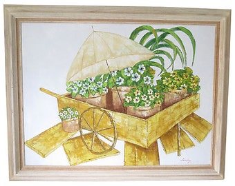 Original Vintage Painting, Oil on Canvas, Yellow Flower Cart