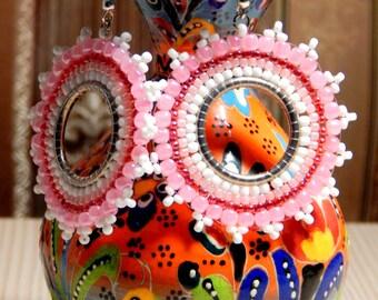 Beaded Hoop Earrings, Bead Woven Earrings, White and Pink Beaded Hoop earrings, Handmade Hoops, Romantic Earrings,  Handmade Jewelry Gift.