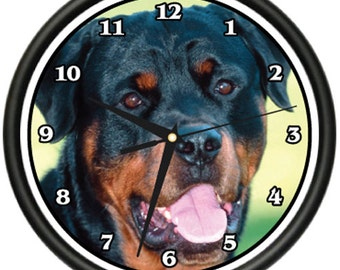 Rottweiler Wall Clock Dog Doggie Pet Breed Gift