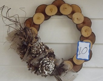 Sliced wood wreath - 14""
