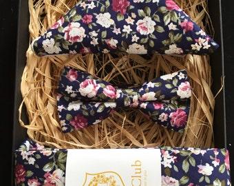 Necktie, Bow Tie and Pocket Square 'Cobalt Blue' Trio Set - Blue