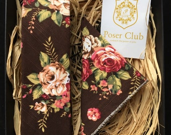 Tie and Pocket Square 'Flowery Choco' Duo Set by Poser Club (Brown)