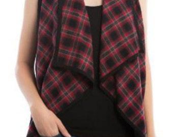 SALE Women's Plaid Print Vest