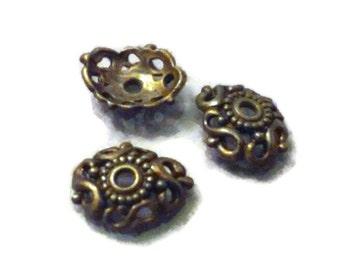 Antique Copper - 12 mm -  Bead Caps - Qty. 50
