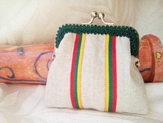 Coin purse Lithuania, linen pouch, linen coin purse, wallet, pinigine Lietuva, flag, patriot