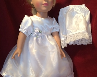 Special Occasion  white dress and slip for 18 inch doll