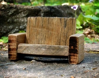Wooden Fairy Couch, Primitive Toy Sofa, Fairy Furniture, Waldorf Inspired Rustic Dollhouse Furniture, Living Room Miniatures