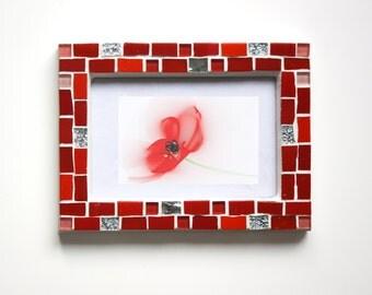 4x6 frame - Mosaic photo frame - Red frame - Photo frame 4x6 - Picture frame 4x6 - Red photo frame - Mosaic art - Anniversary gift