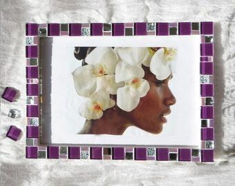 8x12 frame - Mosaic wall photo frame - Purple frame - Photo frame 8x12 - Picture frame 8x12 - Purple frames - Mosaic art - Gift for her