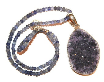 Amethyst Druzy Pendant with Crystal Beads