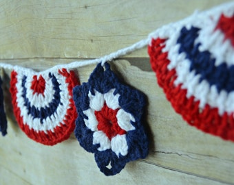 Fourth of July Banner, Stars and Strips Banner, Bunting, Patriotic Banner, Red, White and Blue Bunting, Patriotic Bunting, Stars and Stripes