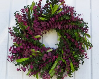 Eucalyptus Wreath, Spring Wreath, Spring Eucalyptus Wreath, Dried Flower Wreath, All Natural wreath
