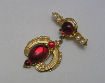LARGE  Pin Brooch . Victorian revival jewelry