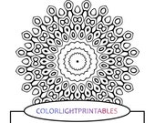 Adult Coloring Pages: Printable Coloring Page - Simple Mandala Design - Black and White Mandala Art - Mandala Coloring Pages