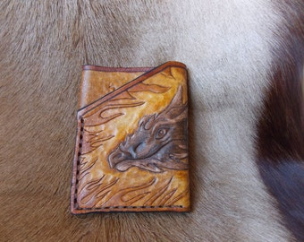Business card holder - leather wallet with Dragon