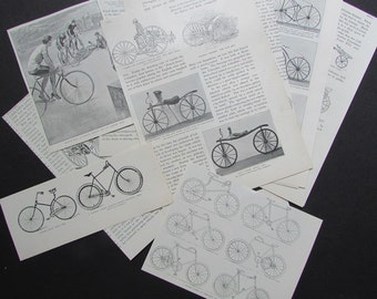Bicycle Paper Ephemera Vintage Encyclopedia Pages The History of the Wheel
