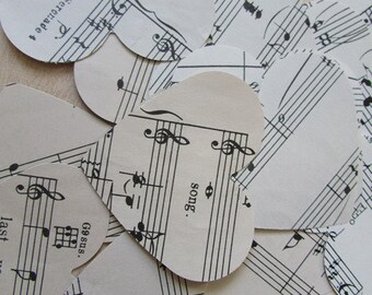 Vintage Paper Hearts Music Pages 25 Hearts