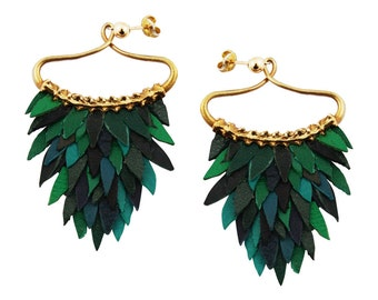 Green Fish Scales Earring