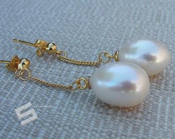 9-10MM Real Pearl Earrings, Sterling Silver Coated 18K Gold Ear Drops,TearDrop Freshwater White Pearl Vermeil Dangle Earrings, Pearl Earring