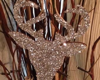 Silver Glitter Deer Christmas Ornament!