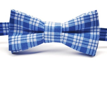 Blue Plaid Bow tie, Blue Bow tie, Blue and White Bowtie, Plaid Bowtie, Men's Blue Plaid Bow tie, Kid's Plaid Bow tie, Pre-tied Plaid Bowtie