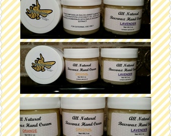 Homemade all natural beeswax hand cream 2 oz and 4 oz