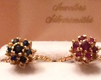 Pair of Vintage Ruby and Sapphire 14k Gold Rings