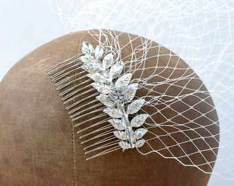 Comb veil bride-comb wedding-jewellery of head-crystals of swarovski-comb retro