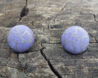 Stars fabric button earrings