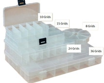 Plastic Beads Storage Containers Jewelry Findings and Beads Storage Box Containers 8 Grids, 10 Grids, 12 Grids, 15 Grids, 24 Grids, 36 Grids