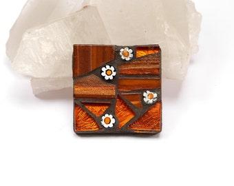 Bright Orange Brooch, Orange Mosaic Pin, Mosaic Brooch, Mosaic Pin, Colourful brooch, Mosaic jewellery, Millefiori jewellery, Flower Brooch