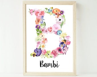 Printable custom watercolour floral monogram personalised letter and name artwork extra large A1