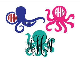 Octopus monogram digital download, unique animal svg, dxf, eps, ai, png, Monogram frame, instant download, monogram, animal ocean monogram