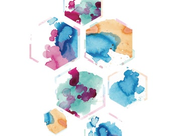Honeycomb Ink Splatter Single Print