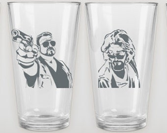 The Big Lebowski - Etched Glass (1): Pilsner Glasses Available - Walter or The Dude