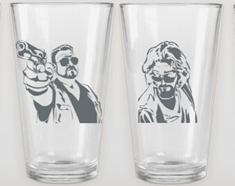 The Big Lebowski - Etched Glass (1): Pilsner Glass Available - Walter or The Dude