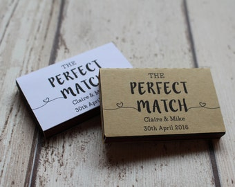 Personalised Rustic Brown Matchbox Wedding Favours includes matches-The perfect match