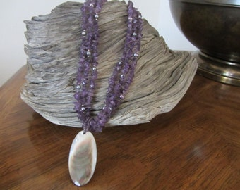Beautiful Three Strand Amethyst Necklace with Large Iridescent Mother of Pearl Pendant Hallmarked WC With Sterling Closure and Beads