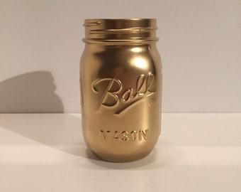 Gold Metallic Mason Jar