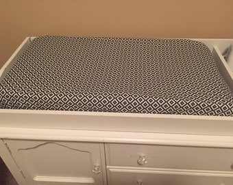 Black and White Changing Pad Cover, Aztec print, fitted Crib Sheet, Gender Neutral