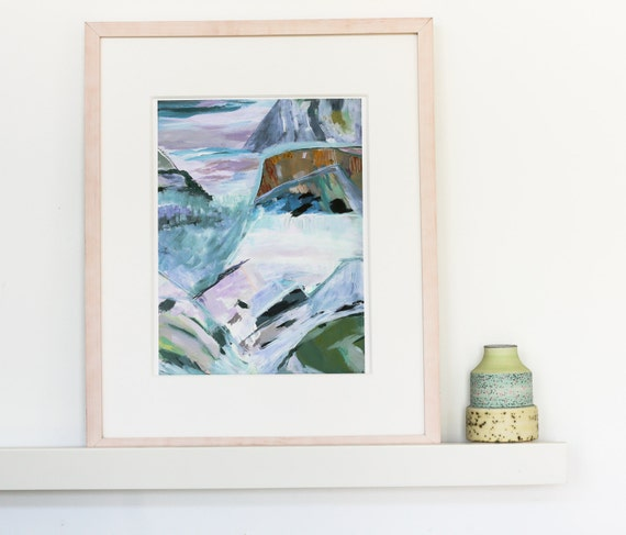 Abstract Landscape Painting - pink and blue painting