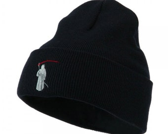 Halloween Solid Image of the Grim Reaper Embroidered Long Beanie