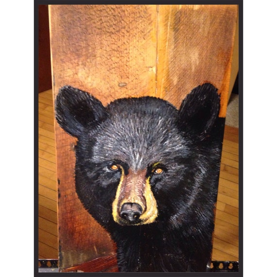 Black bear wall decor home decor barn board black by for Bear decorations for home