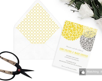 Printable Envelope Liner - Wedding template - Instant download  - yellow - A7