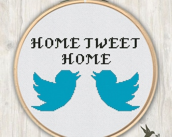 Home Tweet Home Cross Stitch Pattern, modern cross stitch pattern