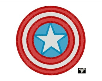 Captain America Applique and Embroidery designs in 7 sizes