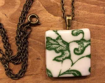 Handmade ceramic square pendant jewelry