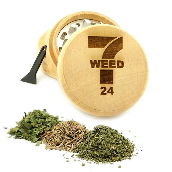 7-24 Leaf Design Engraved Premium Natural Wooden Grinder Item # PW61716-17