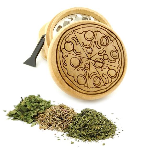 Pizza Engraved Premium Natural Wooden Grinder Item # PW61716-21