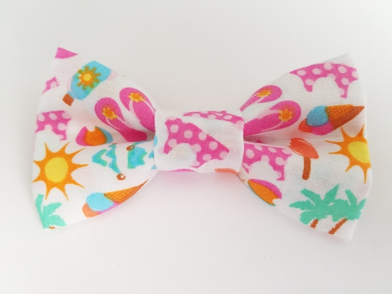 Beach Bow Tie for Cat or Small Dog Collars, Matching Velcro Collar, 100% Sales Goes to Helping Feral Cats
